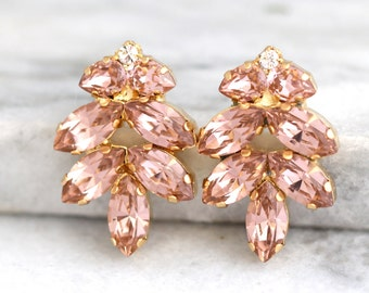 Blush Earrings, Light Peach Earrings, Blush Pink Bridal Earrings, Swarovski Blush Earrings, Bridesmaids Earrings,Gift For Her,Blush Wedding