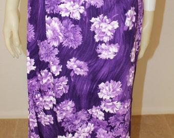 SALE Vintage Purple Hawaiian Floral Print 70's Maxi Skirt  M
