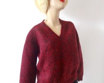1950s Wool Sweater - vintage maroon & black marled v-neck pullover