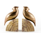 Art Deco Brass and Marble Bookends - Brass Bird / Parrot