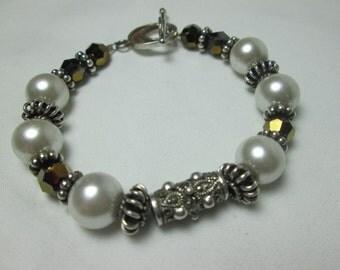 lovely SAKI 925 signed GLASS pearl heliotrope BALI style enamel chunky bracelet