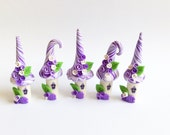 Fairy house set handmade from polymer clay in purple and lilac