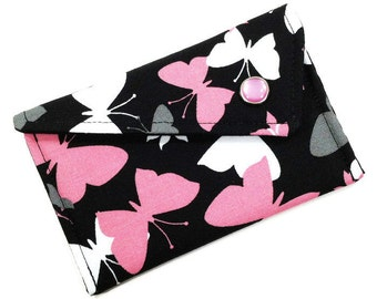 Business Card Holder - Pink Grey and Black Butterflies (LIMITED EDITION) Card Case Wallet