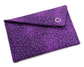 Business Card Holder - Purple Marbled Floral