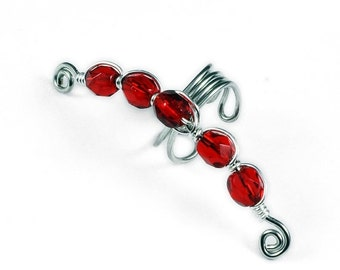 Summer Sale - 10% off - Silver Ear Cuff with Red Glass Beads