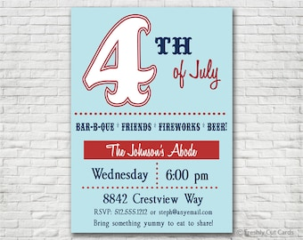 Fourth of July Celebration Printable Invitation - Printable or Printed (w/ FREE Envelopes)