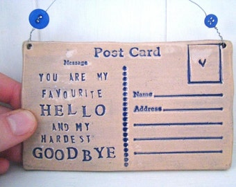 My Favourite Hello- Ceramic postcard with vintage buttons. Made in Wales, UK. Navy Royal Blue