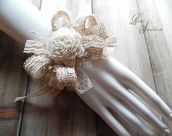 Ships in 5 days ~~~ Wrist Corsage Sola Flower, Burlap, Lace, Babies Breath & Jute Ribbon.