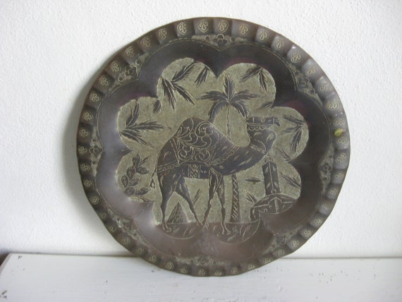 Large Bohemian Handcrafted Hammered Brass Etched Wall Hanging