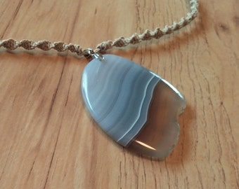 Lavendar/Gray Dyed Agate Pendant Tan Hemp Spiral Necklace 20 inches Handmade