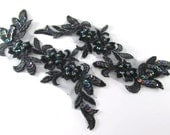 Lacy Black Iris AB Beaded and Sequined 6 x 2.5 Inch Appliques (2) for Costume or Bridal Trim
