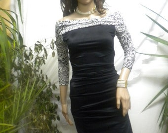 Elegant ladies straight dress in black and white combination