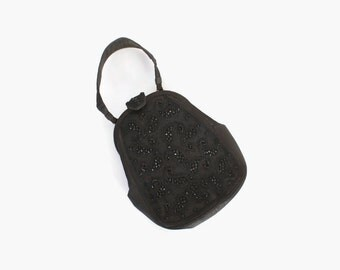 Vintage 40s Nettie Rosenstein PURSE / 1940s BEADED Black Silk Rare Designer Evening Handbag