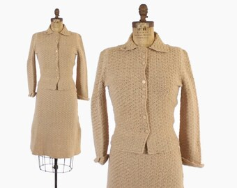 Vintage 40s KNIT SET / 1940s Creamy Beige Metallic Gold Lurex Sweater Knit Cardigan & Skirt Dress Set S