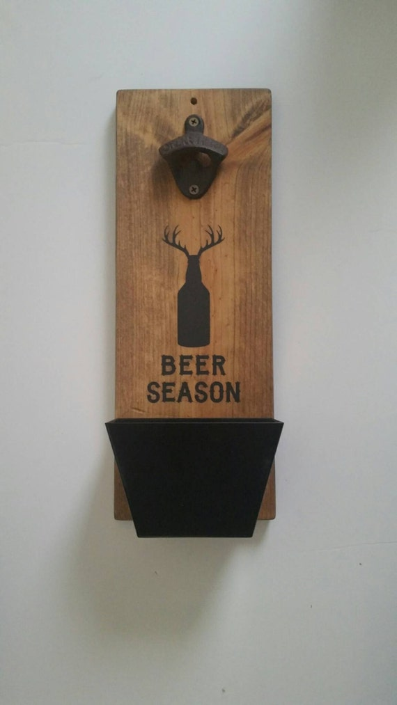 Wall mount beer bottle opener and cap catcher hunter gift - Wall mounted beer bottle opener cap catcher ...