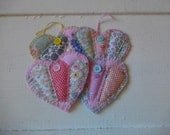 Sweet set of 4 heart shape vintage quilt fabric gift tags, coaster set, ornaments, scrapbook embellishment, gift wrapping