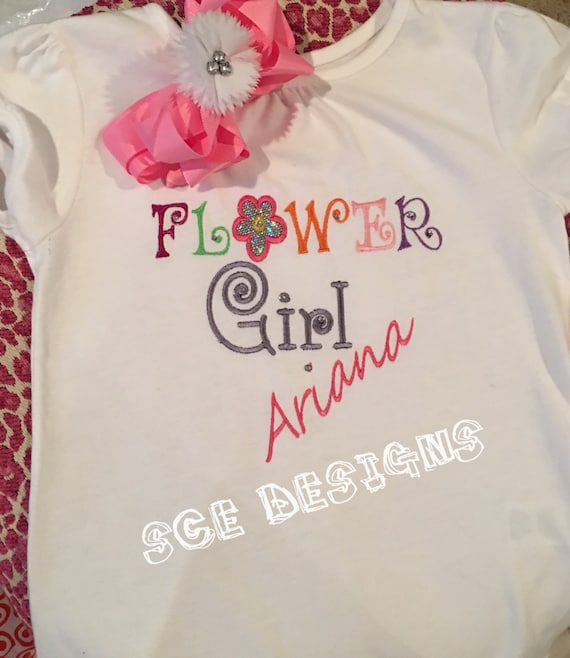 Flower girl t shirts personalized with name and by scedesigns