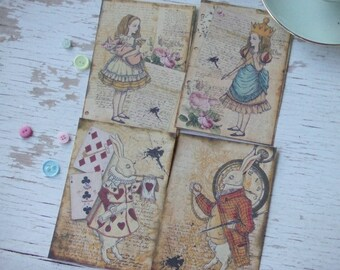 Alice in Wonderland notecards - large Alice - blank notecards - embellishments - rose notecards - small notecards