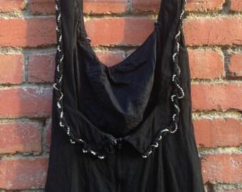 Georgette Dress // Black Pinup  Beaded Rhinstone Scoop-back Mini Dress Xs Xsmall