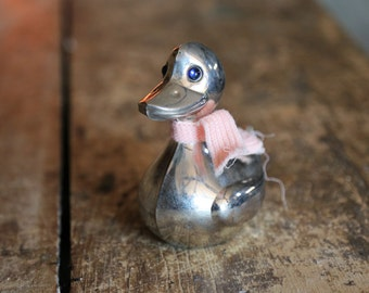 Vintage Silverplated Duck Money Bank / Coin Change Piggy Storage Bank / Baby Girl Pink Nursery Decor