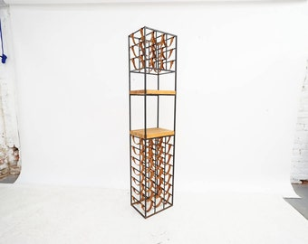 California Modern Iron and Leather Wine Rack by Arthur Umanoff