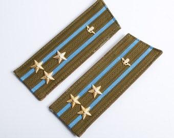 Vintage Soviet Army officer uniform shoulder boards, shoulder strap, Colonel of the airborne troops.