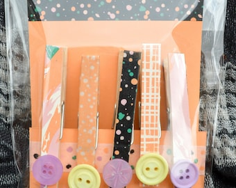5 Altered Wooden Magnetic Clothes Pegs