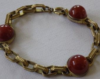 Vintage bracelet, antique 1920's carnelian 7 inch bracelet, Art Deco era jewelry