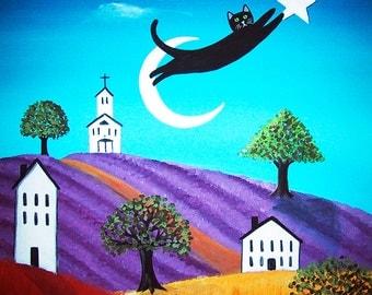 Black Cat Flying Reaching for the Stars Whimsical Folk art Print Starlu