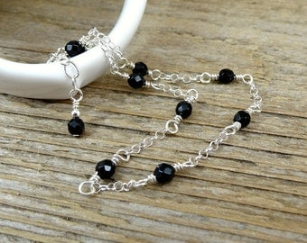 Black Onyx Anklet, Beaded Gemstone Ankle Bracelet, Sterling Silver Dainty Ankle Chain