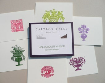 Urns, Bouquets and Baskets,  An assortment of set of 6 letterpress cards.