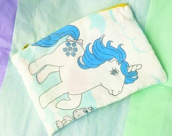 My little pony upcycled vintage style zipper top pencil or cosmetic bag unicorn mlp g1 unicorn