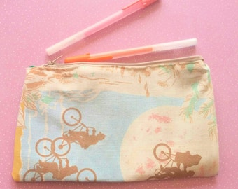 ET 1980s zipper pouch the extraterrestrial upcycled  vintage style