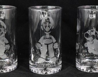 Super Mario Set of 3 Etched on Beer Mug