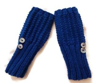 Knit Wrist Warmers, Knit fingerless gloves, Blue Gloves, Black Gloves, Autumn Accessories, Fall Accessories