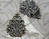 5 pcs Antique Bronze leaf flower Filigree Brooch Base,brooch Filigree Floral Base Setting