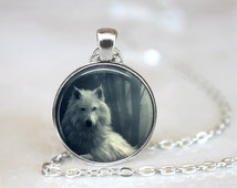 Glass Tile Necklace Wolf Necklace Black Jewelry Black Necklace Glass Tile Jewelry Animal Jewy Wolf Jewelry