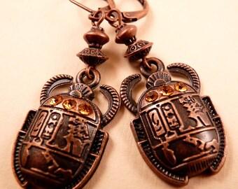 Scarab Earrings Copper Earrings Beaded Earrings Egyptian Earrings Copper Jewelry Beaded Jewelry Metal Earrings Egyptian Jewelry