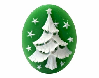 40x30mm x-mas cabochon decoration holiday white christmas tree resin cameo loose unset embellishment or bauble diy 893x