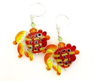 Chicken Earrings, Animal Earrings, Lampwork Earrings, Rooster Earrings, Orange Lime Green Earrings, Bird Dot Earrings, Dangle Drop Earrings