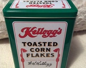 PRE SPRING SALE Vintage Kellogg's Corn Flakes Tin Container Cereal Battle Creek Michigan Advertising