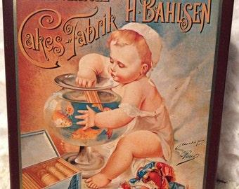 20% OFF SALE Vintage Rare BAHLSEN Biscuit Tin made in Hannover Germany Established 1889 Baby Fishbowl 1920's