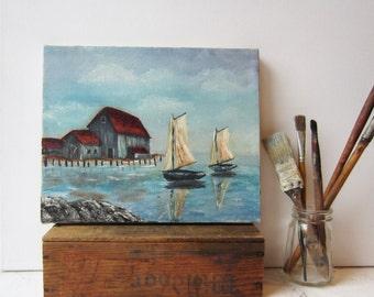 Vintage Oil Painting - Sailboat Seascape