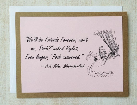 Friends Forever - Winnie the Pooh Quote - Classic Piglet and Pooh Note Card Pink On Kraft Brown