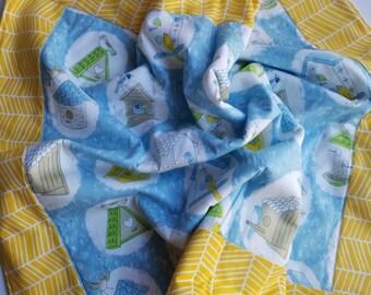 Blue and yellow birdhouse baby blanket, fleece play mat, fleece baby blanket