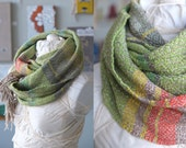 Spring Green & Pink Tulips Textural Delight - Handwoven Everyday Luxury Infinity Cowl Scarf