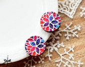 20% off - NEW Unique 3D Embossed flower 16mm Round Handmade Wood Cut Cabochon  -(WG-358)