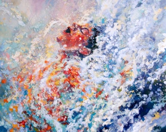Art print of painting being abstracted crashing into waves