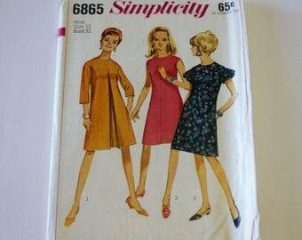 Dress Pattern - Simplicity 6865: Misses' One-Piece Dress Pattern Size 12 (UNCUT) - Sewing Pattern, Clothing Pattern, Womans Dress Pattern