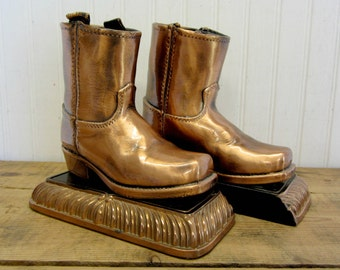 Vintage Bronze Dipped Copper Color Baby Cowboy Boots Bookends